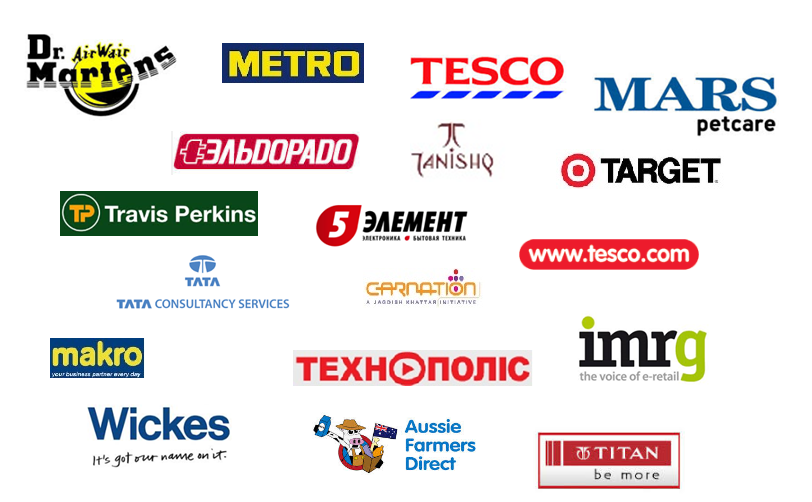 Client Logos: Dr Martens, Tesco, Metro, Mars, Eldorado UA, Tanishq, Target.com, Travis Perkins, 5 Element BY, TCS, Carnation, IMRG, Technopolis, Wickes, Aussie Farmers Direct, Titan Industries