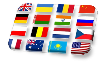 Flags of UK, USA, Australia, France, Germany, Belgium, Netherlands, Czech, Poland, Romania, Russia, Ukraine, Belarus, Kazakhstan, India, China